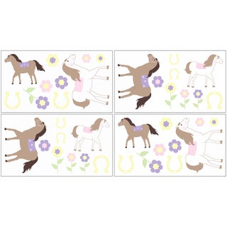 Sweet JoJo Designs Pretty Pony Horse Wall Decal Stickers (Set of 4)