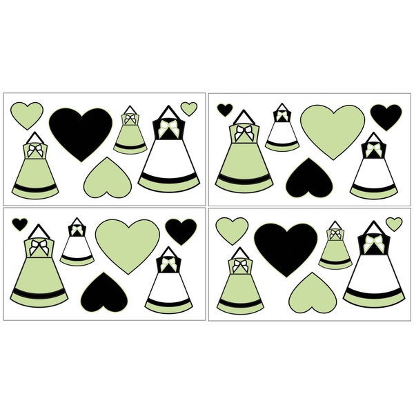 Sweet JoJo Designs Green, Black and White Princess Wall Decal Stickers (Set of 4)
