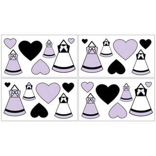 Sweet Jojo Designs Purple, Black and White Princess Wall Decals (Set of 4)