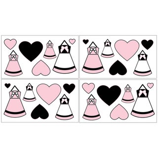 Sweet JoJo Designs Pink, Black and White Princess Wall Decals (Set of 4)