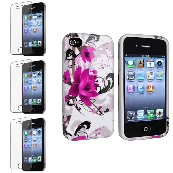 INSTEN White TPU Phone Case Cover/ Screen Protector for Apple iPhone 4/ 4S