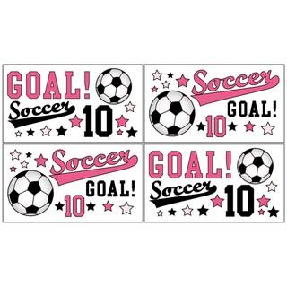 Sweet JoJo Designs Girls Soccer Wall Decals (Set of 4)
