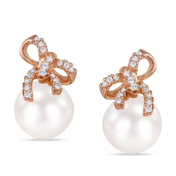 Miadora Silver Pearl and 1/10ct TDW Diamond Earrings (H-I, I2-I3)