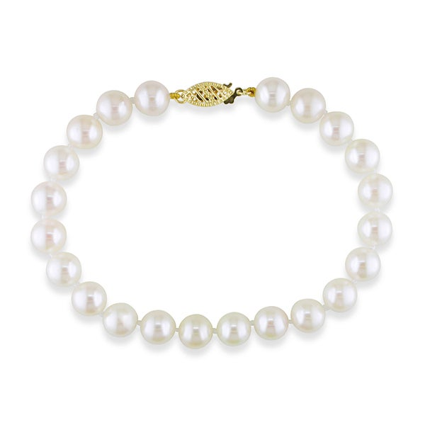 Miadora 14k Yellow Gold White Cultured Akoya Pearl Bracelet (7.5-8 mm)