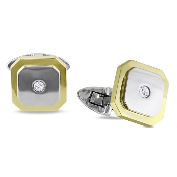 Miadora 14k Two-tone Gold 1/10ct TDW Diamond Cuff Links (G-H, SI1-SI2)