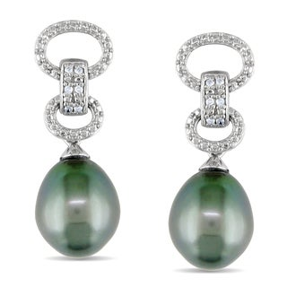 Miadora Sterling Silver Tahitian Pearl and Diamond Earrings (9-9.5 mm)