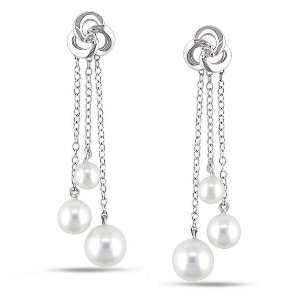 Miadora Sterling Silver Pearl and Diamond Dangle Earrings (4.5-7 mm)