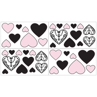 Sweet JoJo Designs Pink and Black Sophia Wall Decal Stickers (Set of 4)