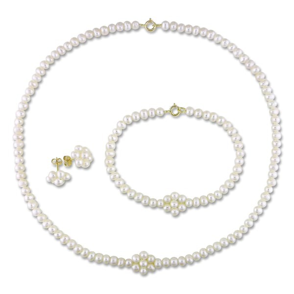 M by Miadora 10k Yellow Gold Cultured Freshwater Pearl Jewelry Set (3-4 mm)