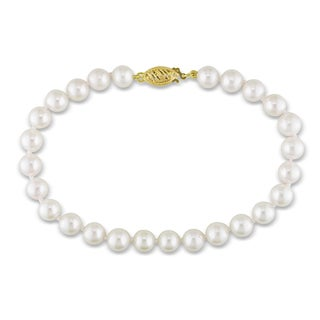 Miadora 14k Yellow Gold White Cultured Akoya Pearl Bracelet (6.5-7 mm)