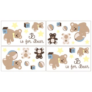 Sweet JoJo Designs Chocolate Teddy Bear Wall Decal Stickers (Set of 4)