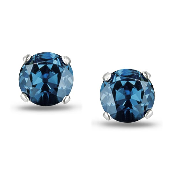 Miadora 14k White Gold 2ct TDW Round Blue Diamond Stud Earrings