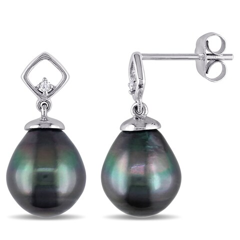 Miadora 10k White Gold Tahitian Pearl and Diamond Earrings (8-8.5 mm)