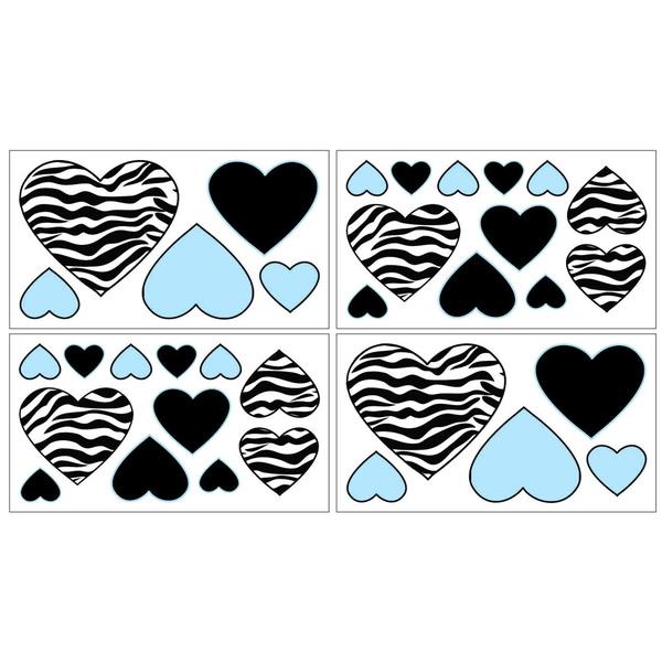 Sweet JoJo Designs Turquoise Funky Zebra Wall Decal Stickers (Set of 4)
