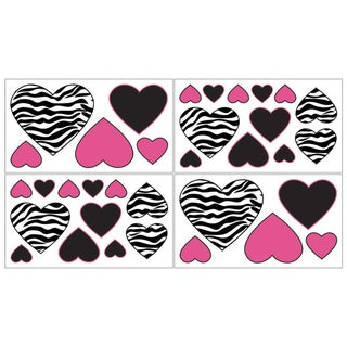 Sweet JoJo Designs Funky Zebra Wall Decal Stickers (Set of 4)