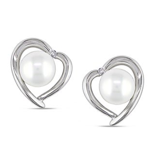 Miadora Sterling Silver Pearl and Diamond Heart Halo Stud Earrings (8 - 8.5mm)