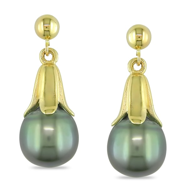 Miadora 14k Yellow Gold Tahitian Black Pearl Dangle Earrings (9-10 mm)