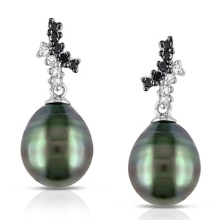 Miadora 10k Gold Tahitian Pearl and 1/6ct TDW Diamond Earrings (H-I, I2-I3)