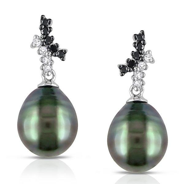 Miadora 10k Gold Tahitian Pearl and 1/6ct TDW Diamond Earrings (H-I, I2-I3)