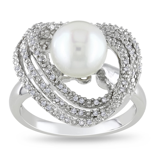 Miadora Sterling Silver Pearl and 1/4ct TDW Diamond Ring