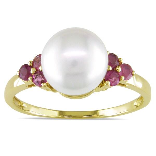 Miadora 10k Yellow Gold Pearl and Pink Tourmaline Ring (8-8.5 mm)