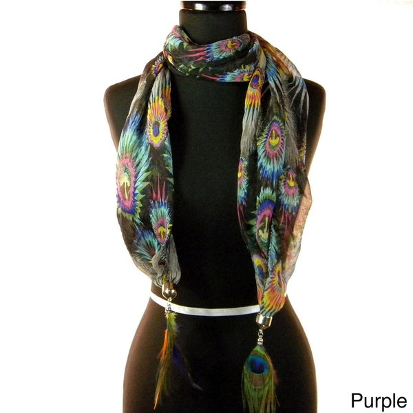 Fashion Jewelry Scarf Multi Colors with Peacock Feathers