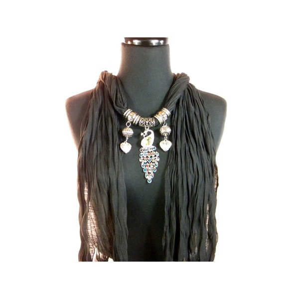 Black Fashion Jewelry Scarf with Crystal Peacock Pendant