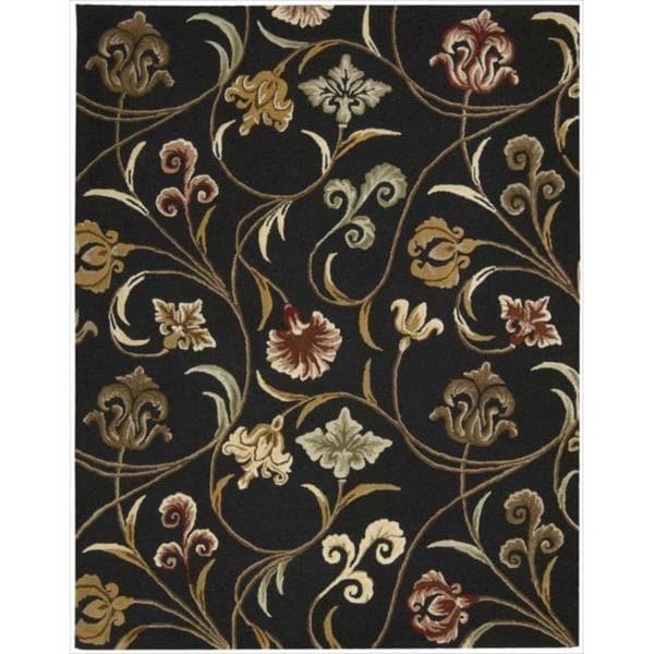 Hand-tufted In Bloom Black Floral Wool Rug (7'6 x 9'6)
