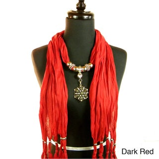 Fashion Jewelry Scarf with Brooch Style Drop Pendant