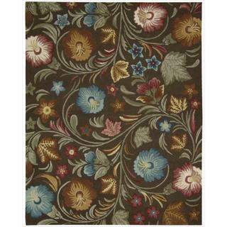 Hand-tufted In Bloom Chocolate Wool Rug (7'6 x 9'6)
