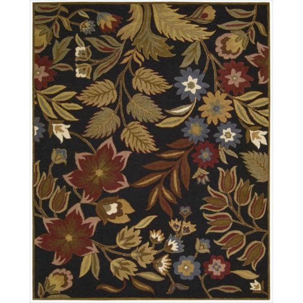 Hand-tufted In Bloom Black Wool Rug (7'6 x 9'6)