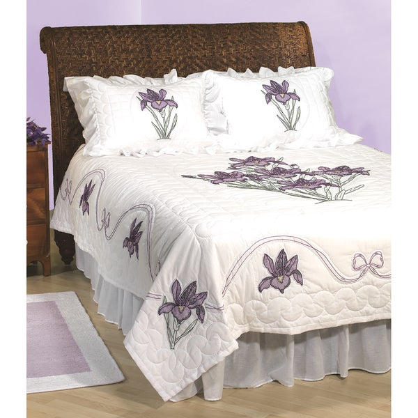 Stamped White Quilt Top -Iris