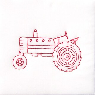 "Stamped White Quilt Blocks 9""X9"" 12/Pkg-Old Tractor"