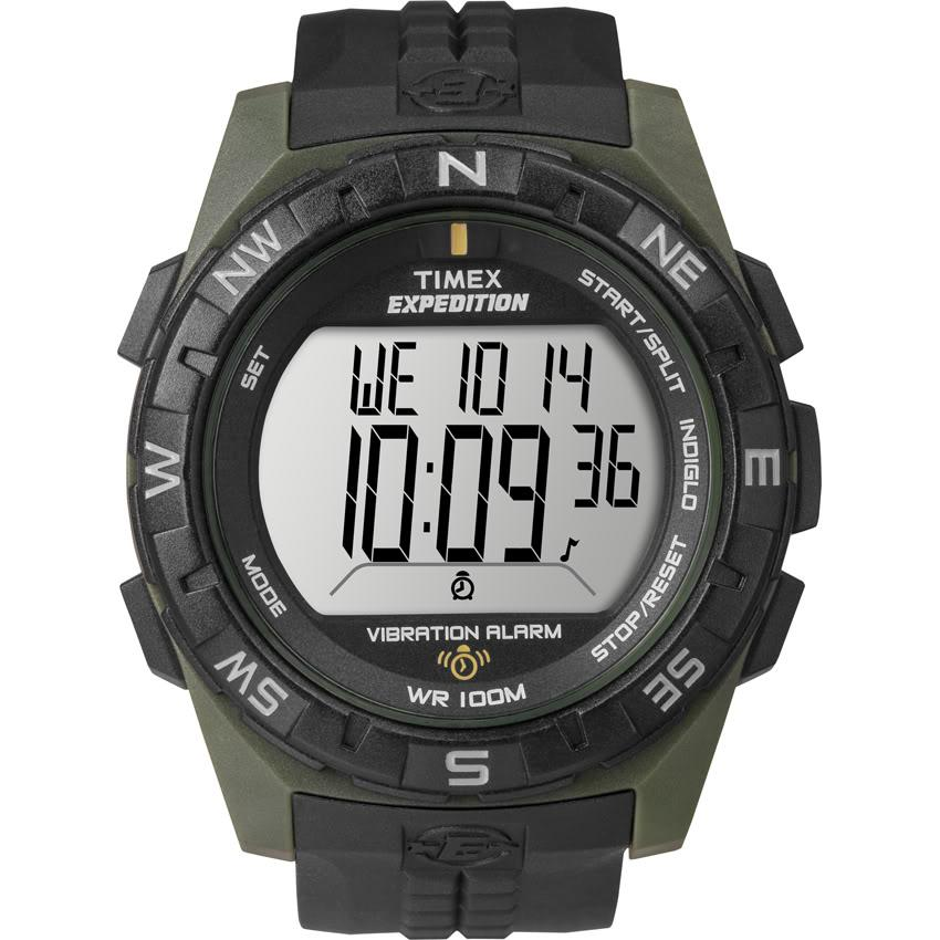 Timex T498529J Men's Expedition Rugged Digital Vibration Alarm Green/ Black Watch
