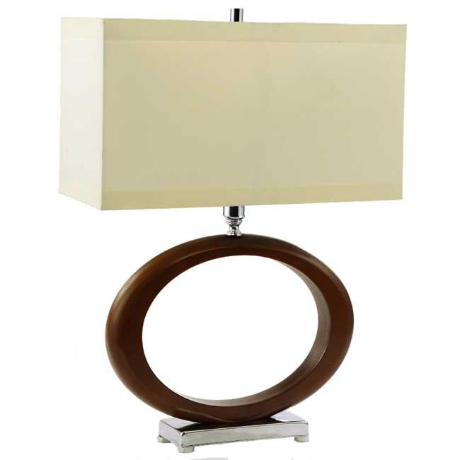 Wood Base Lamps: Carved Wood and Chrome Base Table Lamp,Lighting