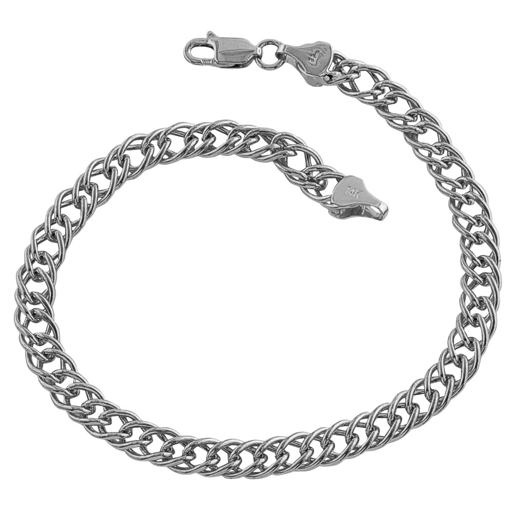 Fremada 14k White Gold Double Link Charm Bracelet