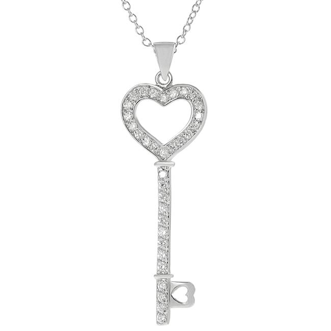 Journee Collection Silvertone Pave-set CZ Heart Key Necklace - Thumbnail 0