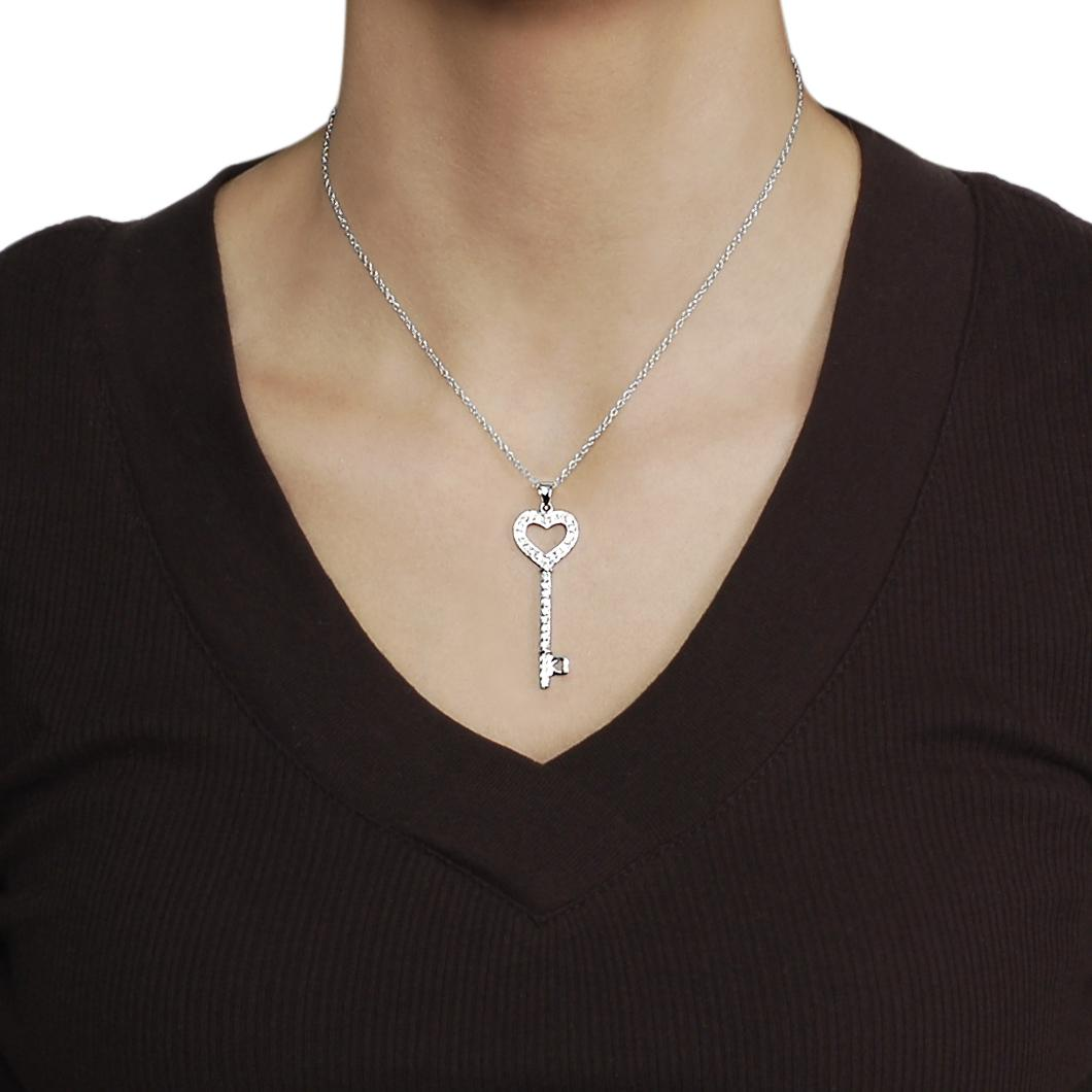 Journee Collection Silvertone Pave-set CZ Heart Key Necklace - Thumbnail 2