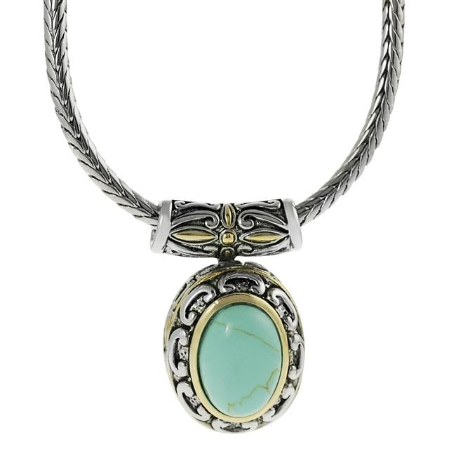 Silvertone and Goldtone Created Turquoise Ornate Necklace