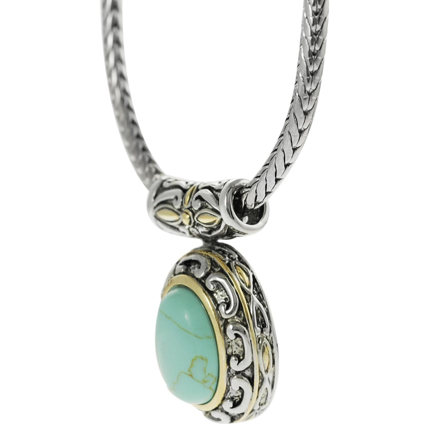 Silvertone and Goldtone Created Turquoise Ornate Necklace - Thumbnail 1