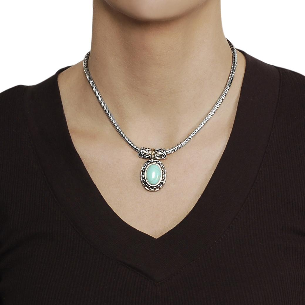 Silvertone and Goldtone Created Turquoise Ornate Necklace - Thumbnail 2