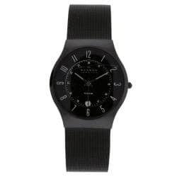 Skagen Men's Classic 233XLTMB Black Titanium Quartz Watch with Black Dial|https://ak1.ostkcdn.com/images/products/76/276/P13740275.jpg?impolicy=medium