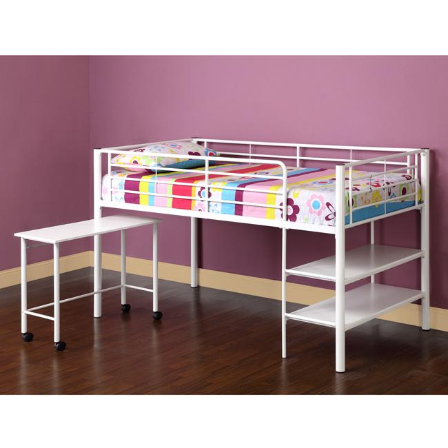 White Twin Loft Bed With Desk Shelves Free Shipping