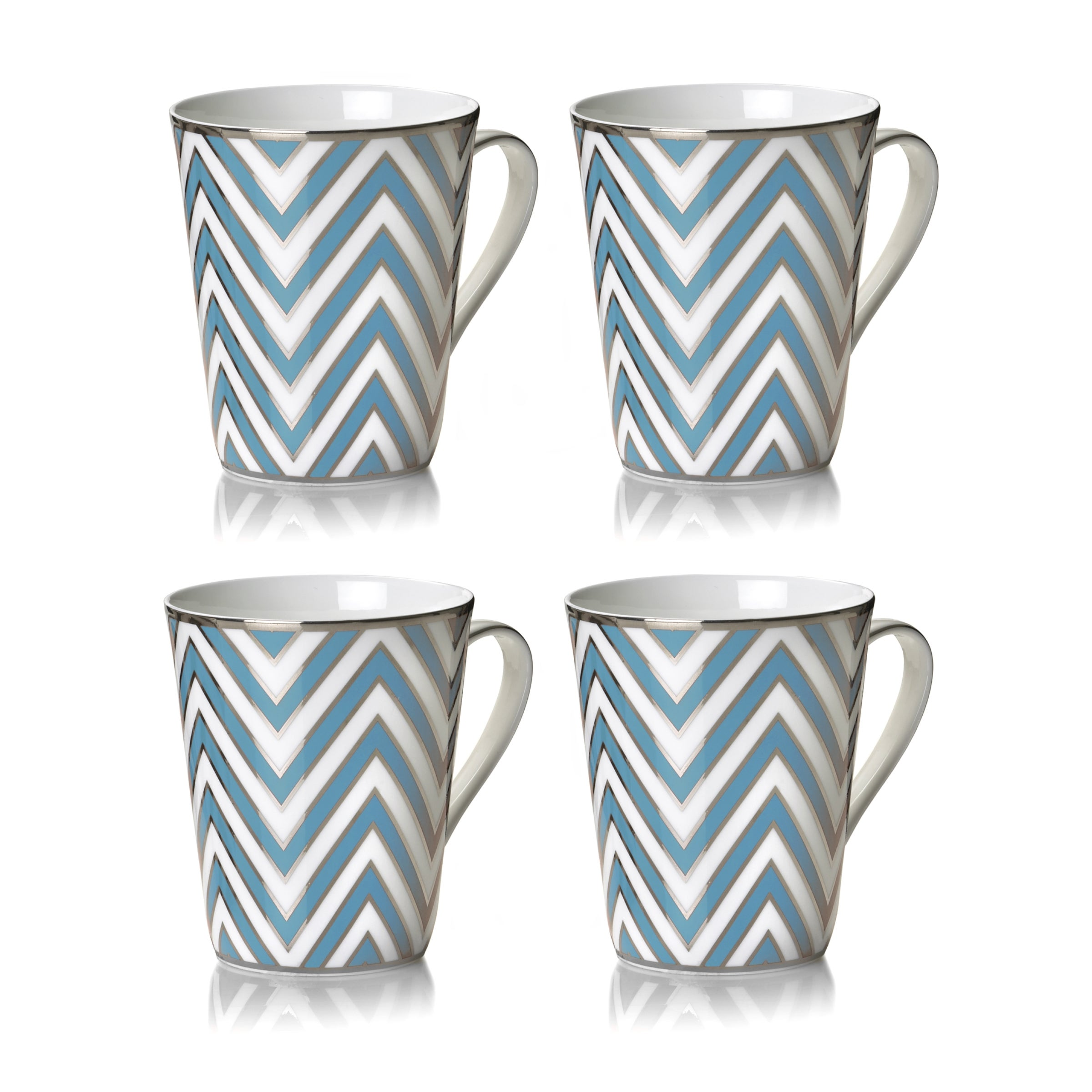 Mikasa Color Studio Turquoise and Platinum Zigzag Mugs (Set of 4)