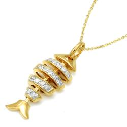 14k Yellow Gold over Silver 1/6ct TDW Diamond Fish Necklace (H-I, I2) - Thumbnail 1