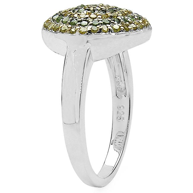 Malaika Sterling Silver 1/2ct TDW Green and Yellow Diamond Cocktail Ring (I2-I3)