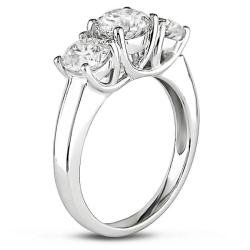 Miadora 14k White Gold 2ct TDW Diamond 3-stone Engagement Ring (I-J, I1-I2)
