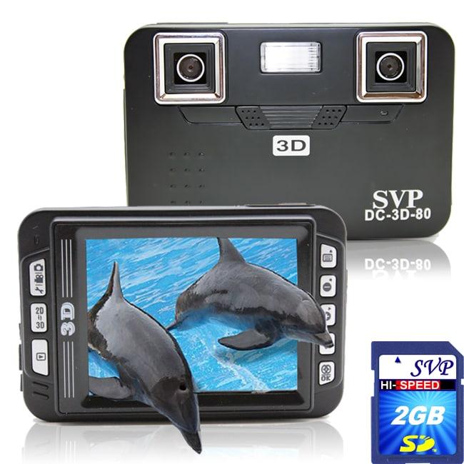 SVP DC-3D-80 Black 3D Digital Camera with 2GB SD Card