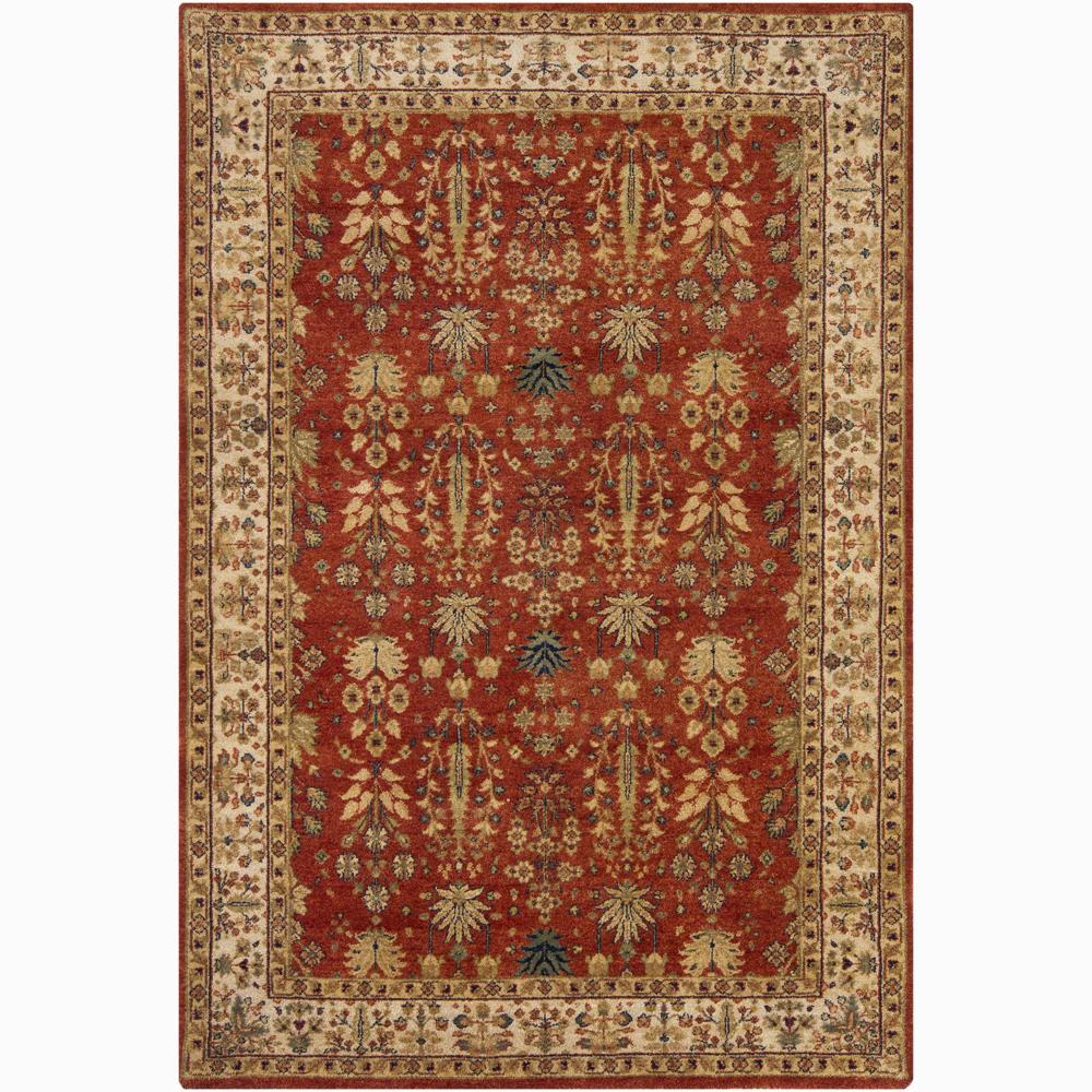 Hand-knotted Mandara Orange Oriental New Zealand Wool Rug (5' x 7'6)