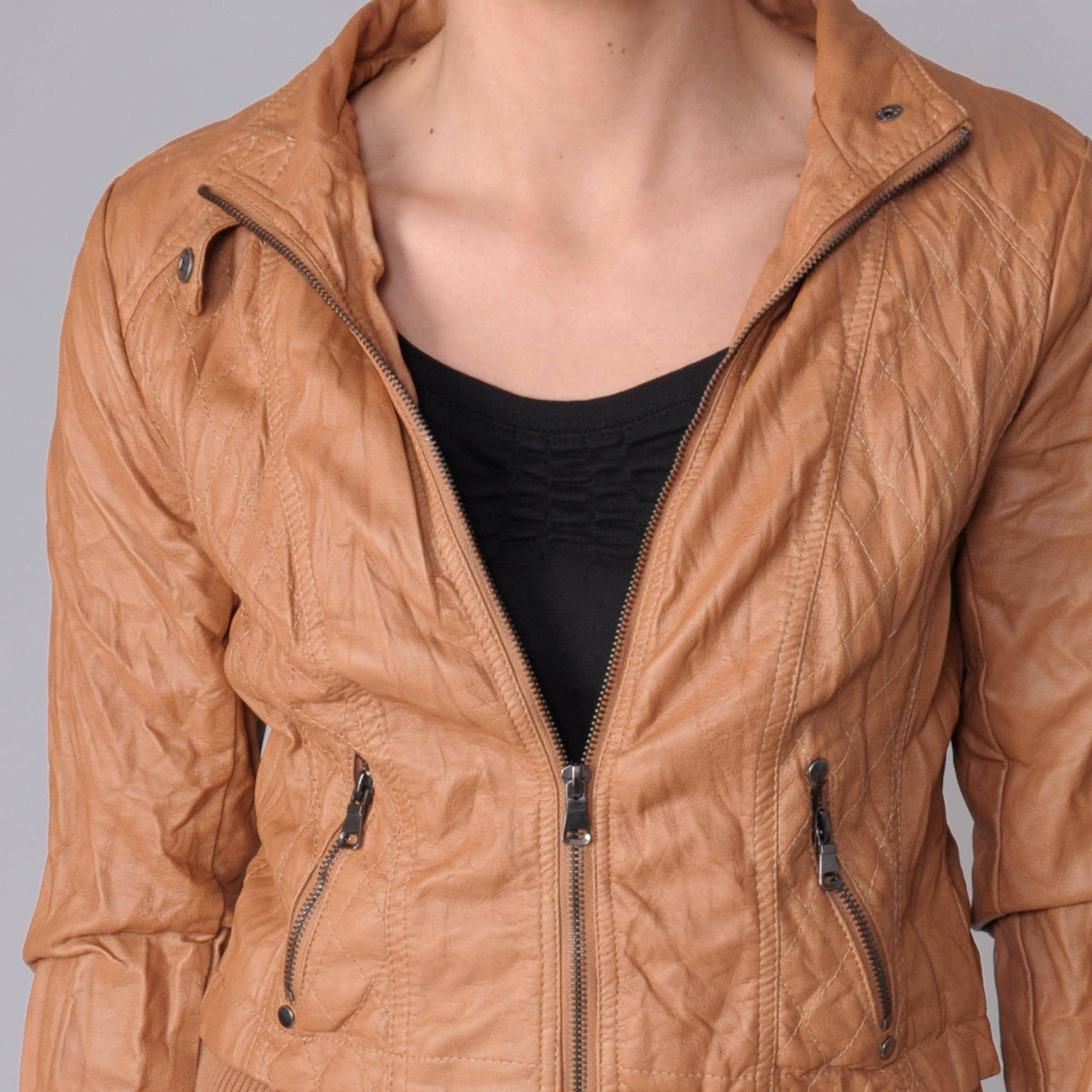 Ci Sono by Adi Juniors Faux Leather Zip-front Jacket